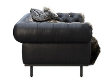 Classic Chester Black Leather Upholstery Sofa With Pillows And Pelt. 3d Render.