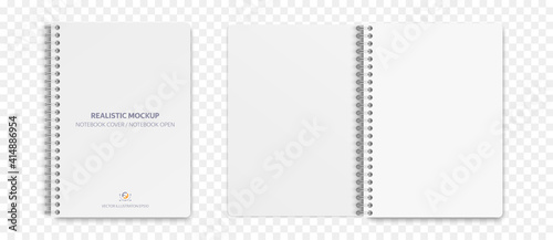 Fototapeta Realistic notebook mockup, notepad with blank cover and spread for your design. Realistic copybook with shadows isolated on transparent background. Vector illustration EPS10. obraz