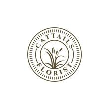 Cattails Reed Vintage Retro Emblem Logo Vector Template Illustration Design