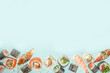 canvas print picture - Flying sushi set with chopsticks