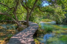 Wooden Boardwalk Leading Through Krka National Park In Croatia
