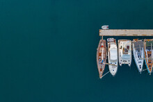 Overhead Shot Of Yachts Mooring At Trogir, Croatia