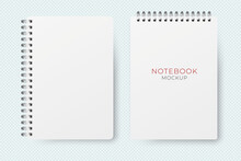 Realistic Vector Opened Notebook Mockup. Vertical Blank Copybook. Spiral Notepad Blank Mockup A4.