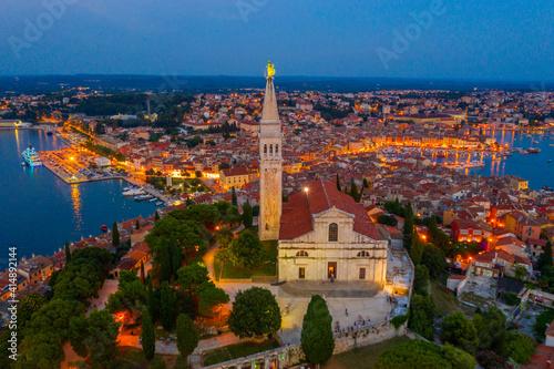 Sunset view of Saint Euphemia church in Croatian town Rovinj Tapéta, Fotótapéta