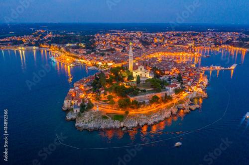 Slika na platnu Sunset aerial view of Croatian town Rovinj