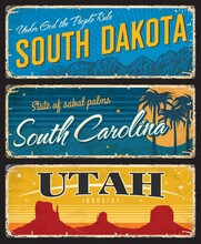 Utah, South Dakota And Carolina States Shabby Plates. America Region Retro Sign, Old Plaque With Mountain Peaks, Palm Trees And Grand Canyon, Vintage Typography Vector. USA Travel Souvenir Rusty Plate