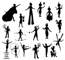 Circus Performers Black Silhouettes, Carnival Top Tent Vector Artists Clown, Acrobat And Man Cannon Ball, Trained Dogs, Juggler, Magician And Trapeze Girl, Woman With Snake, Balancer And Tamer Set