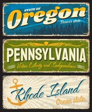 USA States Old And Shabby Signs Rusty Metal Plates. Oregon, Pennsylvania And Rhode Island Aged Plates With States Symbols, Landmarks And Inscription Typography Vector. American Travel Souvenir Sings