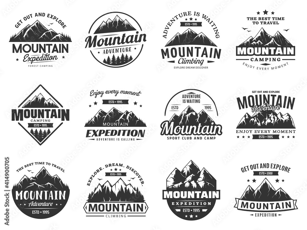 Fototapeta Mountain expedition and rock climbing vector icons. Snowy peaks monochrome silhouettes, steep rocky hills and mountain crest. Nature landscape for outdoor adventure extreme sport and travel labels set