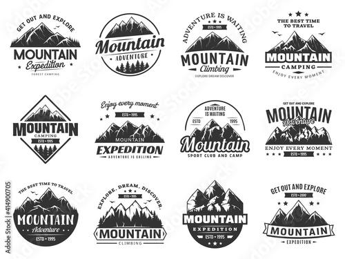 Mountain expedition and rock climbing vector icons Fototapeta