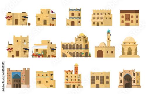Obraz na płótnie Flat Vector Set Of Authentic Traditional Arabian Mud Brick Houses