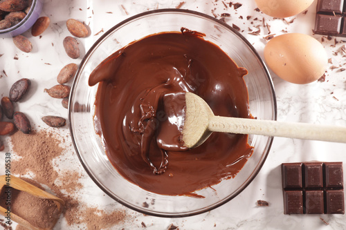 chocolate with ingredient for chocolate cake- top view