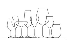 Different Wine Glasses In Continuous Line Art Drawing Style. Glassware For Wine Tasting And Drinking Minimalist Black Linear Design Isolated On White Background. Vector Illustration