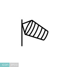 Windsocks Hanging Airport Vector Icon
