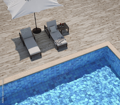 Fotografie, Obraz Swimming pool with wooden deck and sun loungers