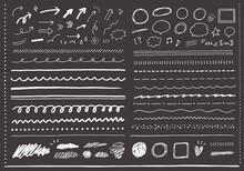 いろんな手描きの線や矢印、吹き出しのセット(黒背景)