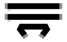 Blank Black Football Fans Scarf Template Vector.Front And Back Views.