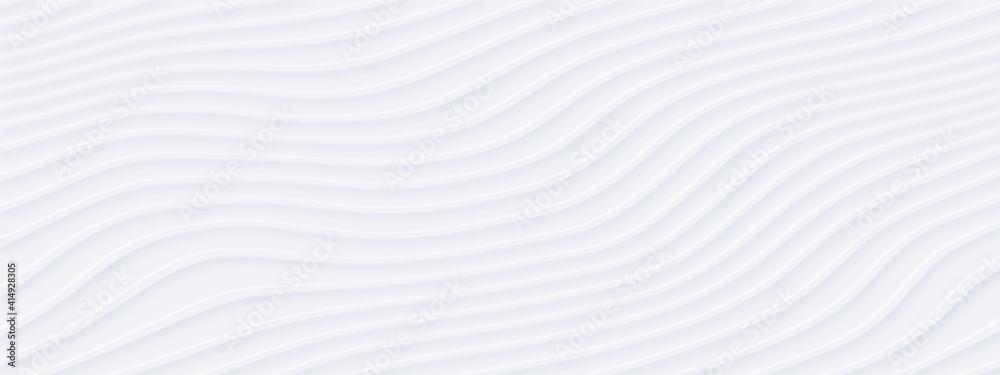 Fototapeta White silver soft wavy universal background for business presentation. Abstract flowy elegant pattern. Minimalist empty striped blank BG. Halftone monochrome fluid cover. Modern digital minimal color