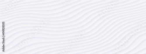 Fototapeta White silver soft wavy universal background for business presentation. Abstract flowy elegant pattern. Minimalist empty striped blank BG. Halftone monochrome fluid cover. Modern digital minimal color obraz
