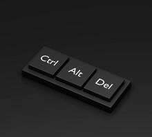 3d Rendering, Closeup Pressing Control   Alt   Del Shortcut On A Black Desktop Wireless Computer Keyboard, Laptop Keyboard, Ctrl Alt Delete Button With Dark Background, 3d Render