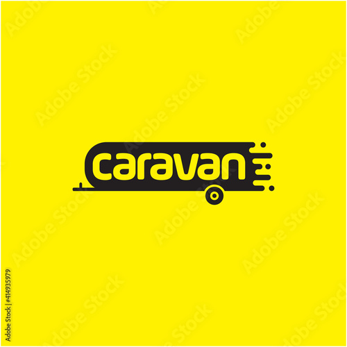 Foto Drawing of a caravan with a trailer on it. Vector symbol