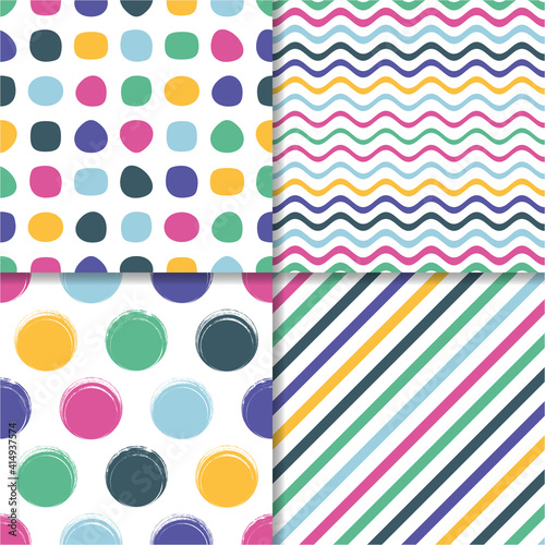 Various vector seamless colourful retro pattern template collection #414937574