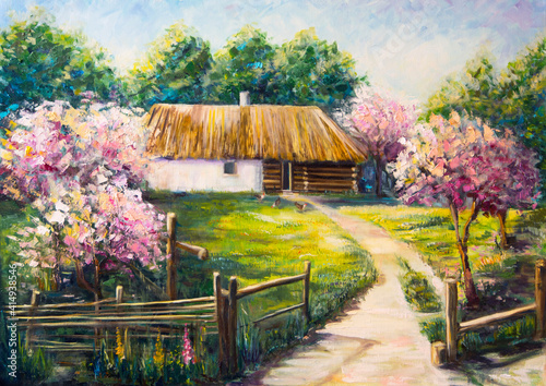 Obraz na plátně Art Oil Painting on Canvas - Bright blooming garden near the house in Ukraine - Ukrainian art - Pirogovo - Blossom nature beautiful landscape - Old historic traditional house with henses