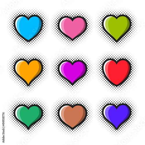 Creative colourful vector heart icon collection halftone design #414938776