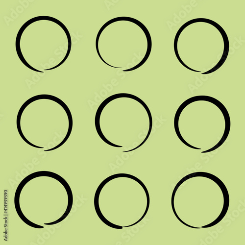 Black vector hand drawn highlight circle set isolated #414939390