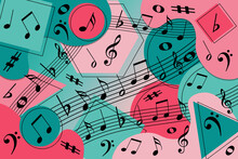Memphis Style Illustration Of Black Musical Notes On A Pink And Green Background