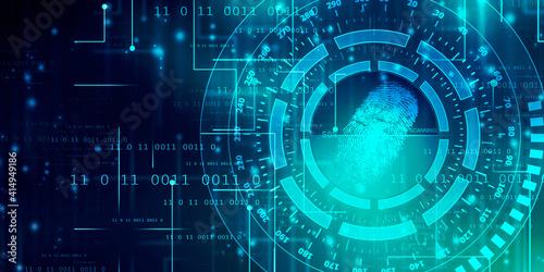Fototapeta Fingerprint Scanning Technology Concept 2d Illustration obraz