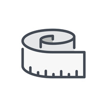 Measuring Tape Color Line Icon. Measure And Ruler Vector Outline Colorful Sign.