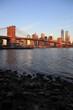 Brooklyn bridge and NYC skyline, New York City, USA