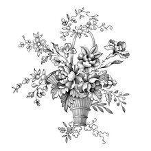 Rose Peony Flowers Bouquet Baroque Victorian Vintage Botanical Engraved Floral Vector Ornament Frame Border Scroll Tattoo Illustration