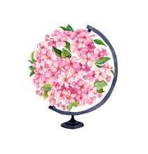 Pink Flowers In World Globe. Vintage Spring Floral Ball. Watercolor For Earth Day Or Hour - Beautiful Flowering Planet