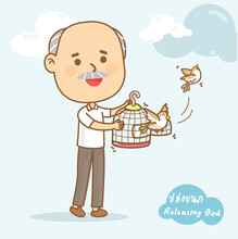 """Releasing Bird From Cage Is One Of The Buddhist Activities In Thai Language It Mean """"Releasing Bird"""""""