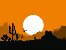 American Desert Landscape With Cactuses Silhouette Illustration. Vector American Sunset Arizona Desert Background