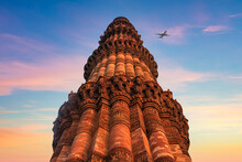Qutub Minar A Highest Minaret In India Standing 73 M Tall Tapering Tower Of Five Storeys Made Of Red Sandstone. It Is UNESCO World Heritage Site At New Delhi, India