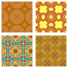 Seamless Chinese Geometric Red And Gold Pattern With Traditional Symbols. Asian Ethnic Ornament. Vector Set Of 4. Use For Wallpaper, Pattern Fills,textile Design.