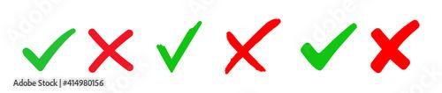 Fotografia Set check mark and cross. Vector illustartion
