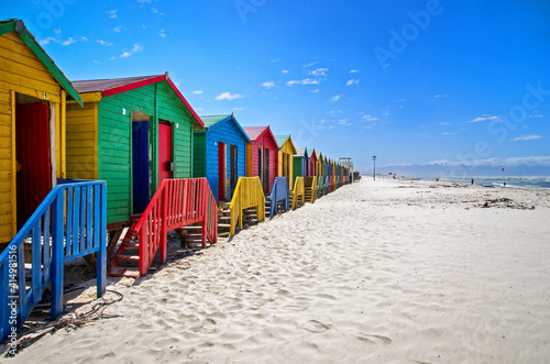 Fototapeta Row of a beach huts at Muizenberg Beach, Cape Town, South Africa