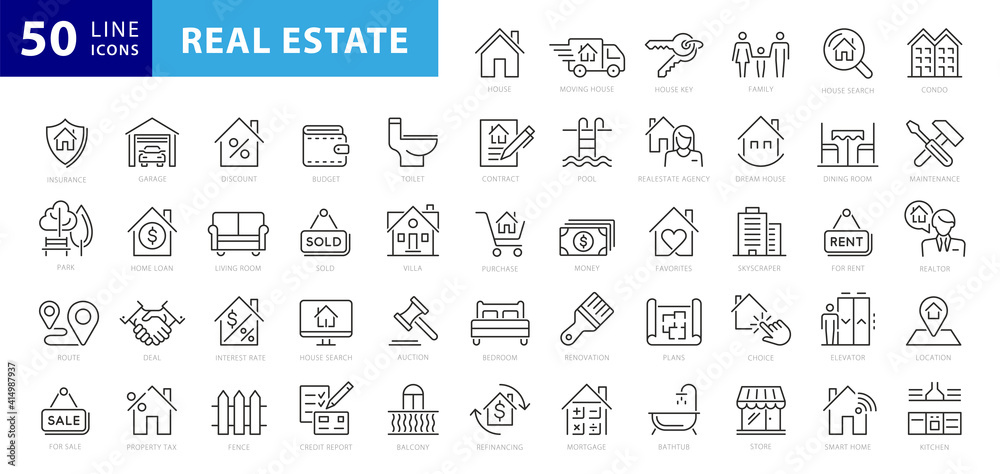 Fototapeta Real Estate minimal thin line web icon set. Included the icons as realty, property, mortgage, home loan and more. Outline icons collection. Simple vector illustration