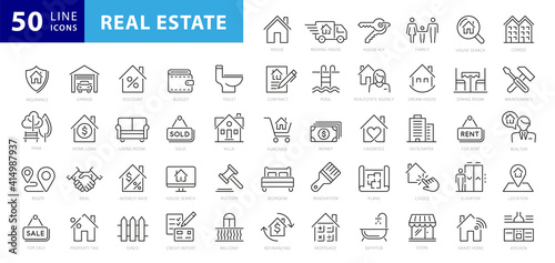 Fototapeta Real Estate minimal thin line web icon set. Included the icons as realty, property, mortgage, home loan and more. Outline icons collection. Simple vector illustration obraz