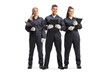 Full length portrait of a team od female and male mechanics in uniforms