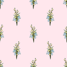 Seamless Pattern With Colorful Spring Bouquets Of Pussy Willow And Snowdrops. Vector Illustration For Festive Design, Packaging, Wallpaper, Fabric, Textile, Stationery, Accessories.