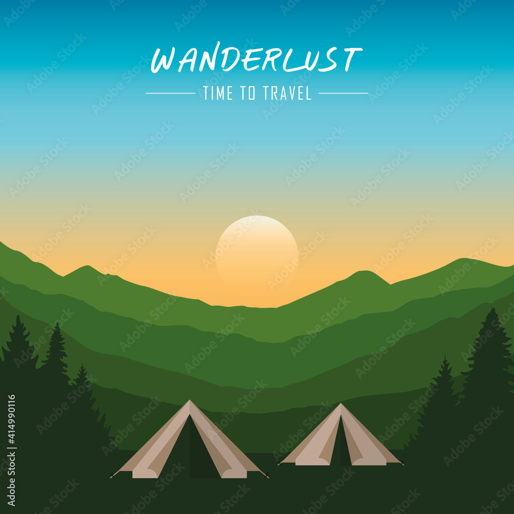 Fototapeta camping adventure in the wilderness tent in the forest at mountain landscape vector illustration EPS10