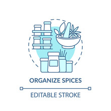 Organizing Spices Concept Icon. Place Alphabetically And Categorize By Use Idea Thin Line Illustration. Special Spice Organizers. Vector Isolated Outline RGB Color Drawing. Editable Stroke