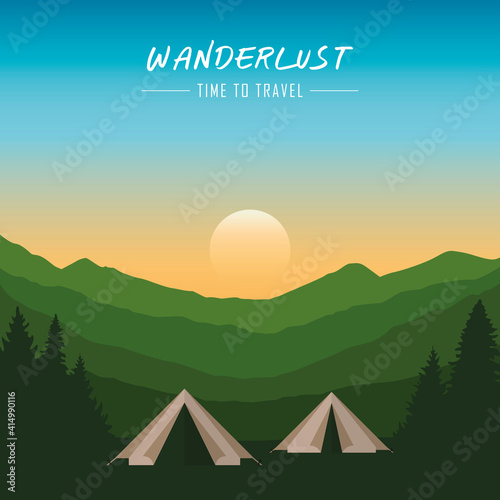 camping adventure in the wilderness tent in the forest at mountain landscape vec Fototapet