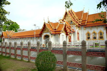 THAILAND BANGKOK , Wat Benchamabophit Royal Temple Built With White Carrara Marble, Built For King Chulalongkorn .The Consecration Hall Containes The Ashes Of King Rama V Are Buried