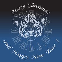 The Muzzle Of A Young Tiger Cub On The Background Of The Clock. New Year.
